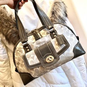 COACH⚡Hampton Gray Patent Leather Trim Satchel Bag